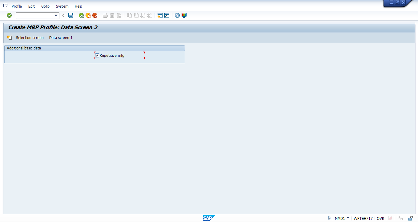 SAP MRP Profile Creation – Data Screen 2