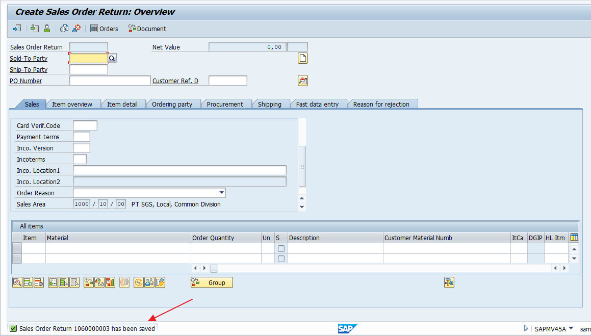 SAP SD Return Order is Created