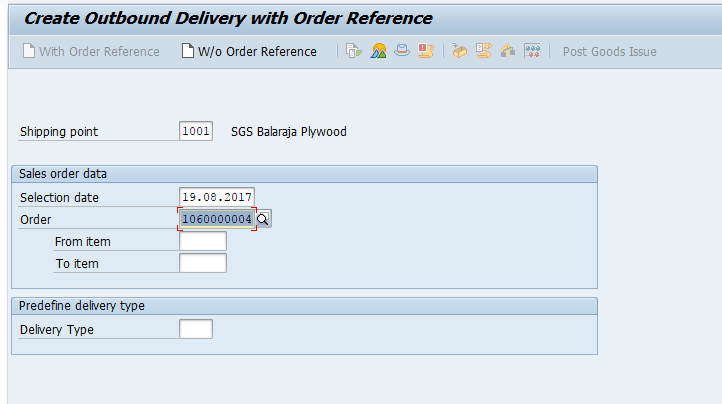 Create Outbound Delivery