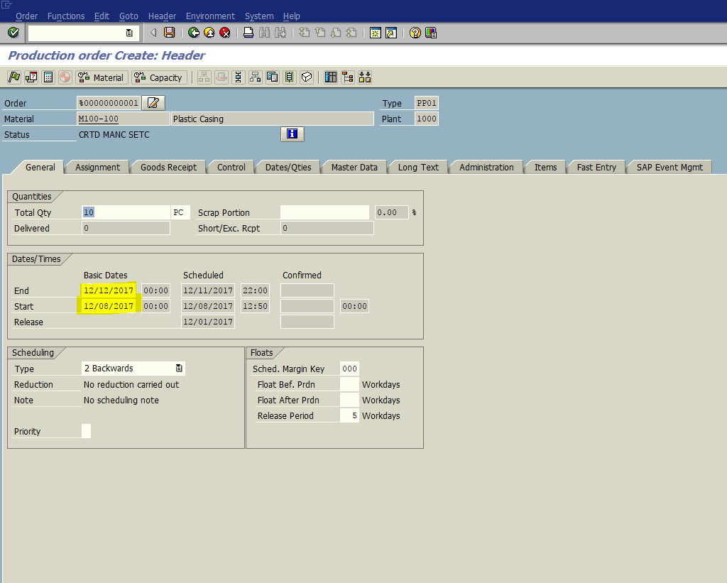 SAP Production Order - Header
