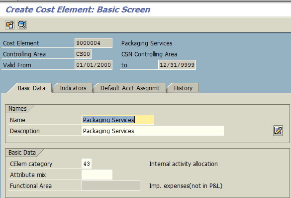 Create Cost Element – Basic Screen