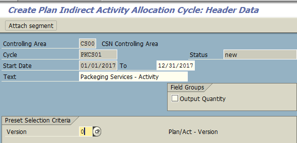 Create Plan Indirect Activity Allocation Cycle – Header Data
