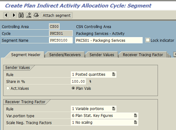 Create Plan Indirect Activity Allocation Cycle – Segment Header