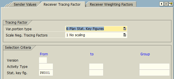Create Plan Indirect Activity Allocation Cycle – Receiver Tracing Factor