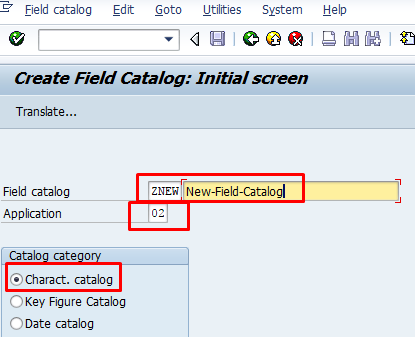 Field Catalog Creation Screen – Transaction MC18