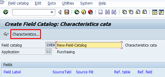 Field Catalog Creation