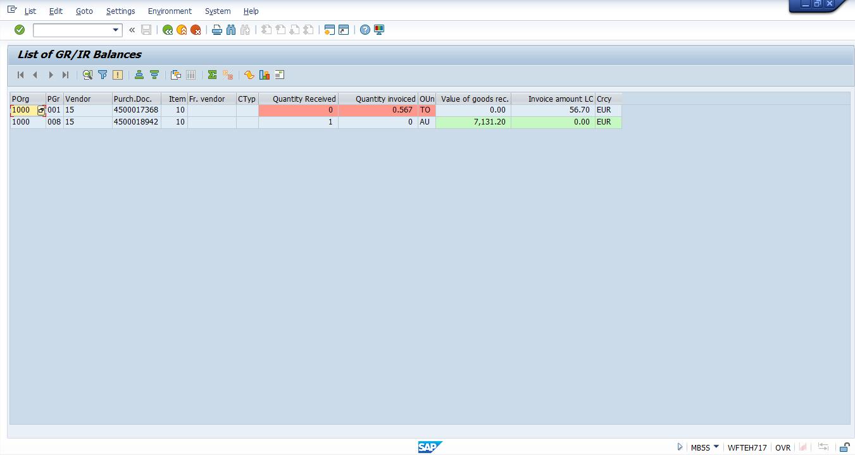 GR/IR Balances for Vendor 15 – Results Screen