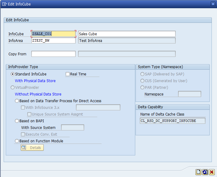 Entering Technical Name and Description for SAP BW InfoCube