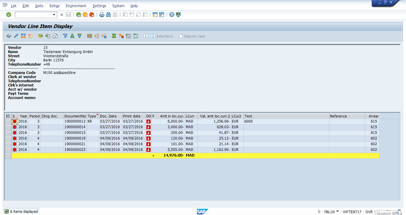 Output Screen of Vendor Line Item Display Report – Open items