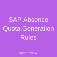 SAP Absence Quota Generation Rules