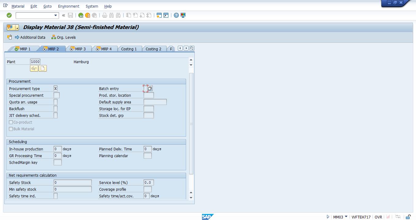 SAP Material Master – MRP 2 View