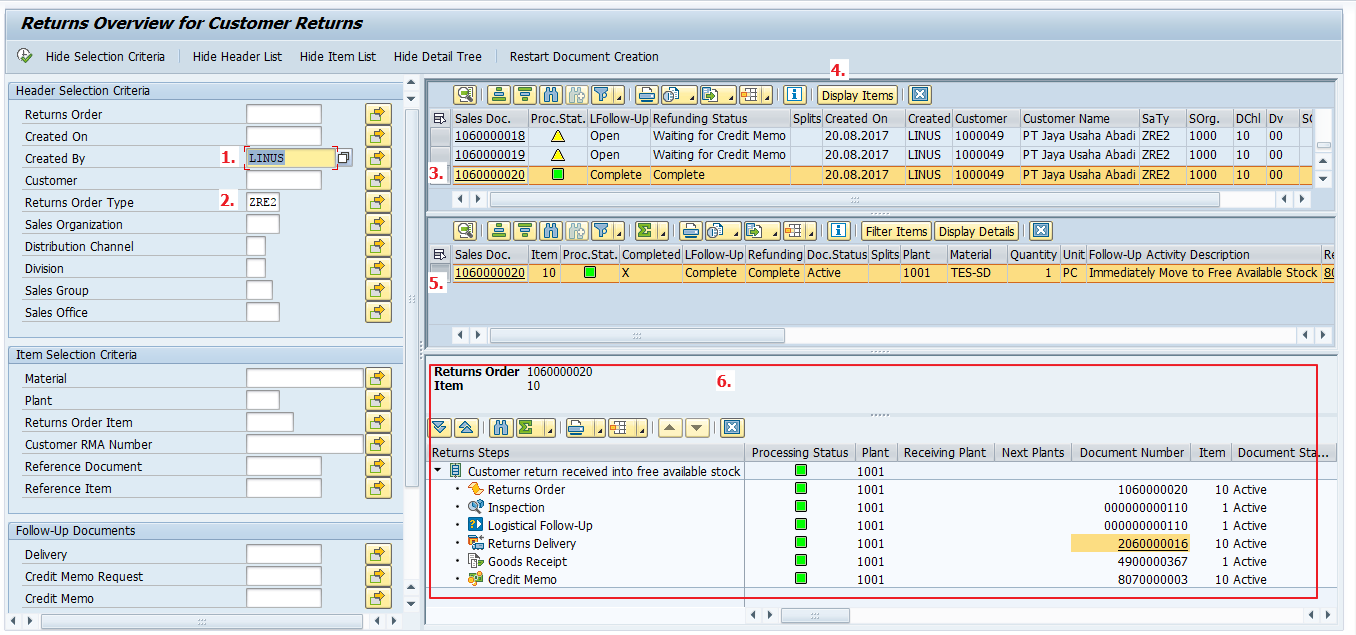 SAP Return Overview Screen