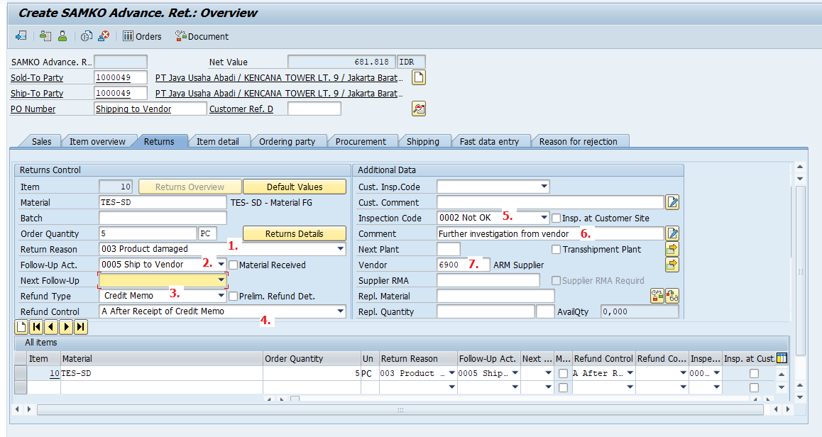 Create Return Order Overview Screen