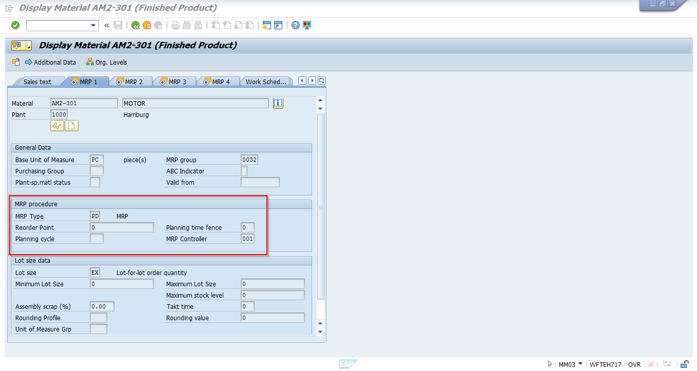 SAP Material Master Record – MRP Procedure