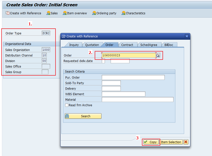 Input Sales Area, Enter Referenced Document, and Click Copy