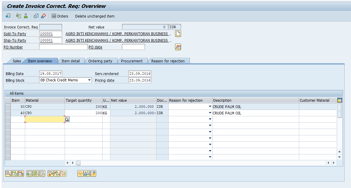 Create SAP Invoice Correction Request - Overview Screen