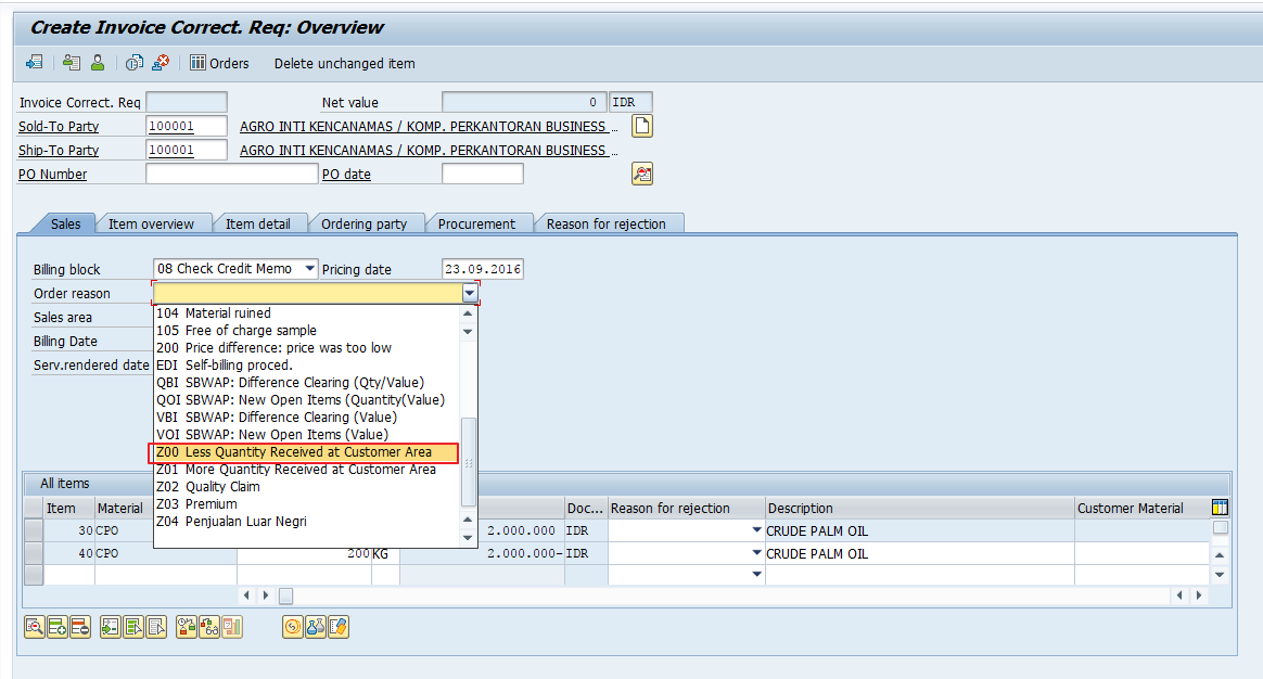 Select One of the Pre-Defined Order Reason Based on the Situation