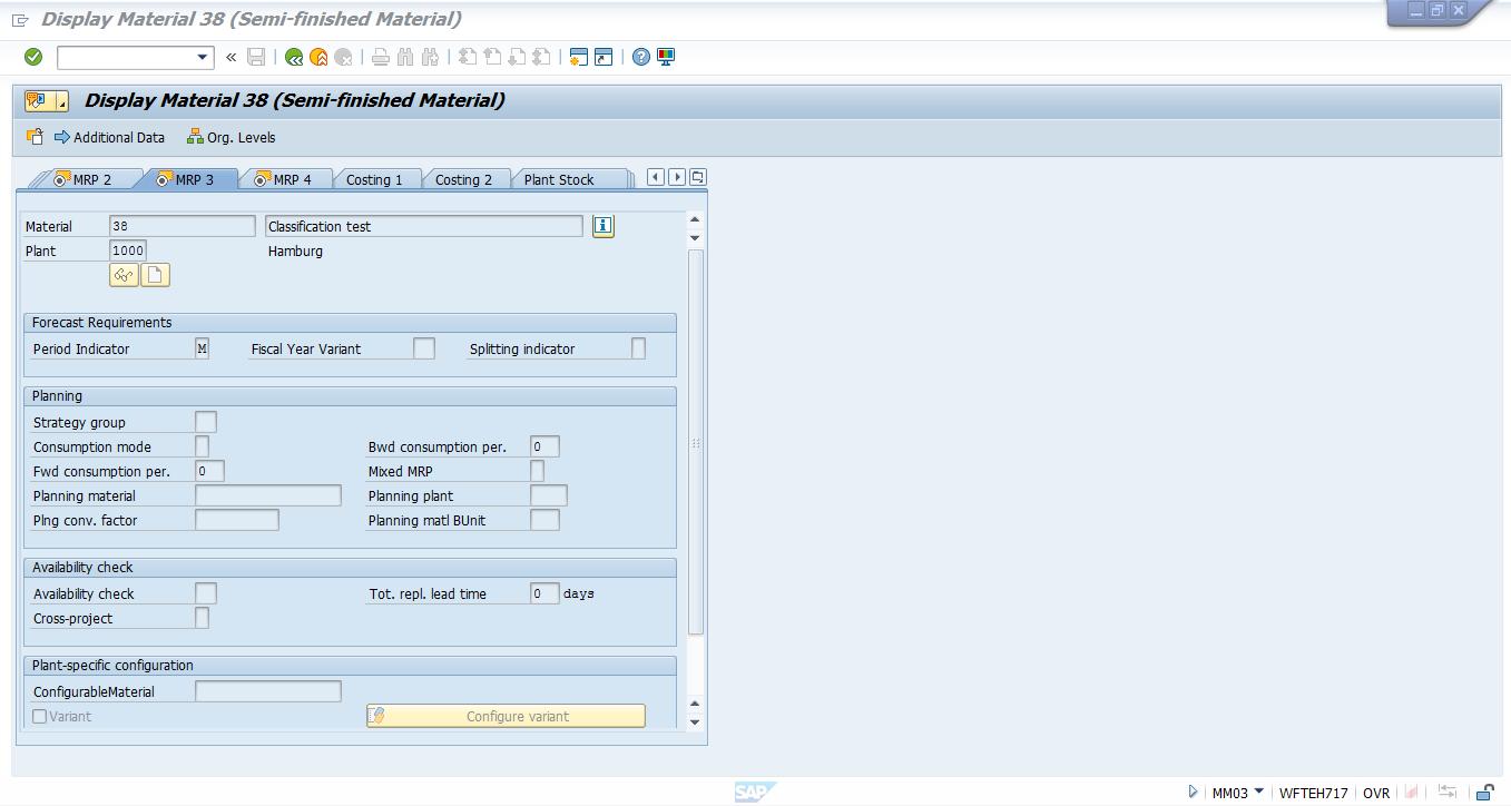 SAP Material Master – MRP 3 View