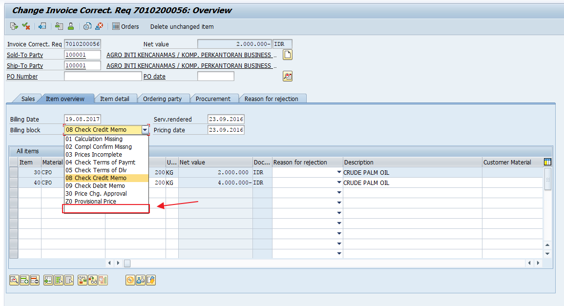 SAP Invoice Correction Request Overview Screen in Change Mode