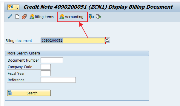 "Click ""Accounting"" Button after Entering Credit Memo Number in VF03"