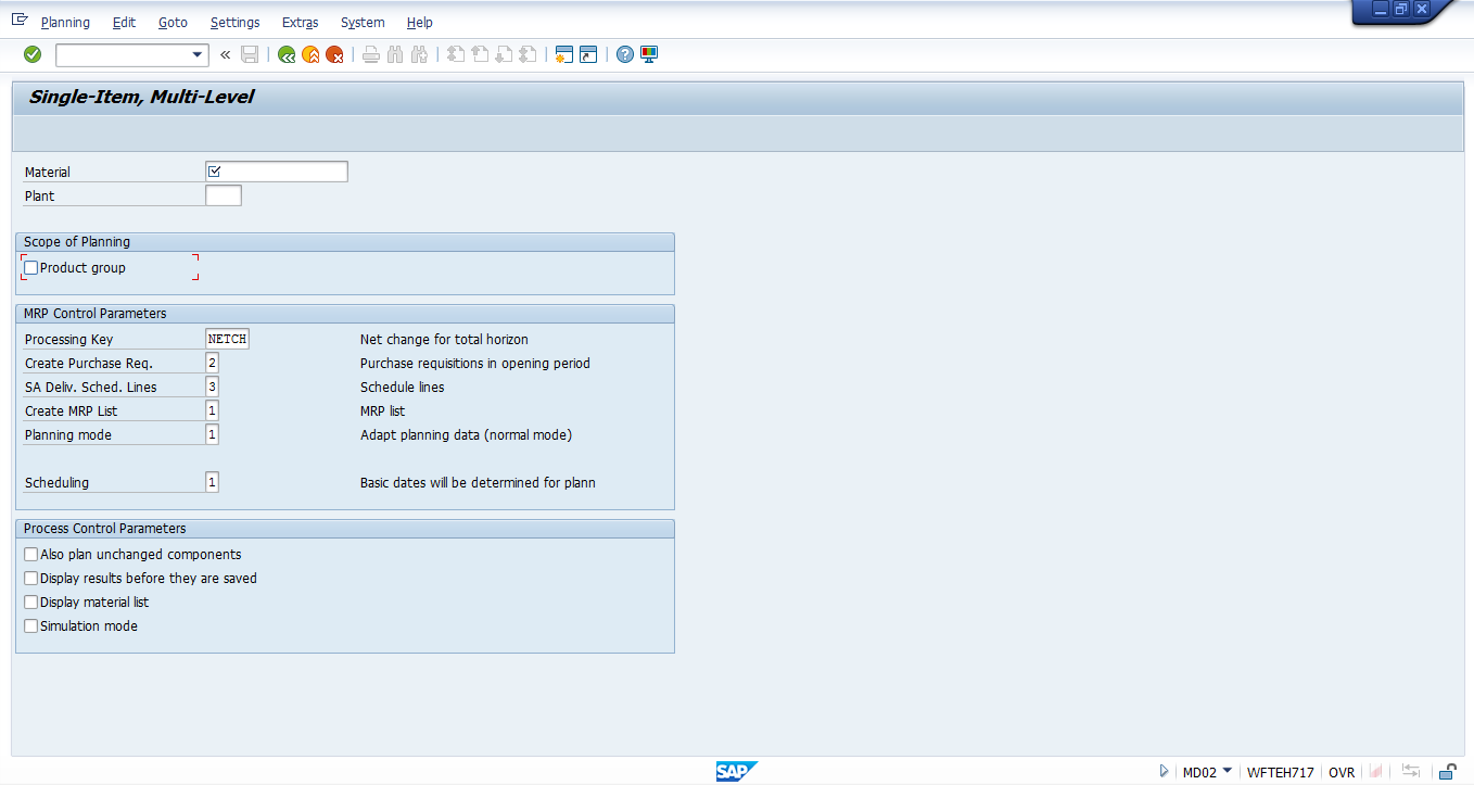 SAP MRP Planning Run Initial Screen