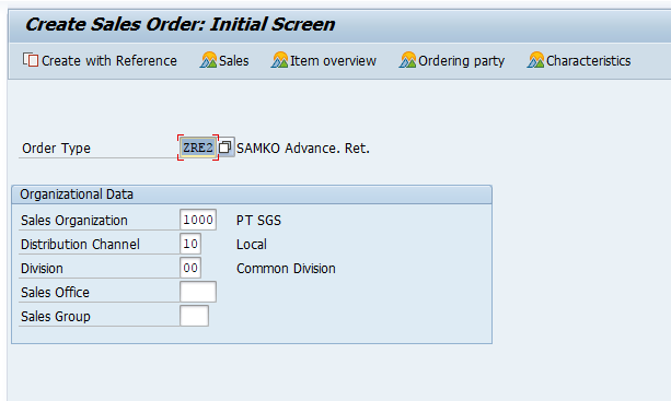 Select Correct Order Type, Then Fill in Sales Area