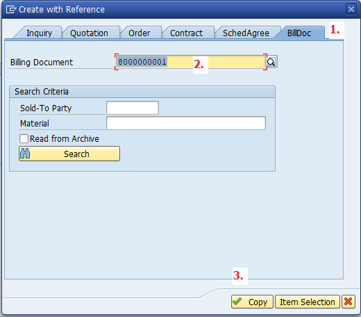 Select the Bill. Doc. Tab, fill in the Referenced Document, Click Copy Afterward