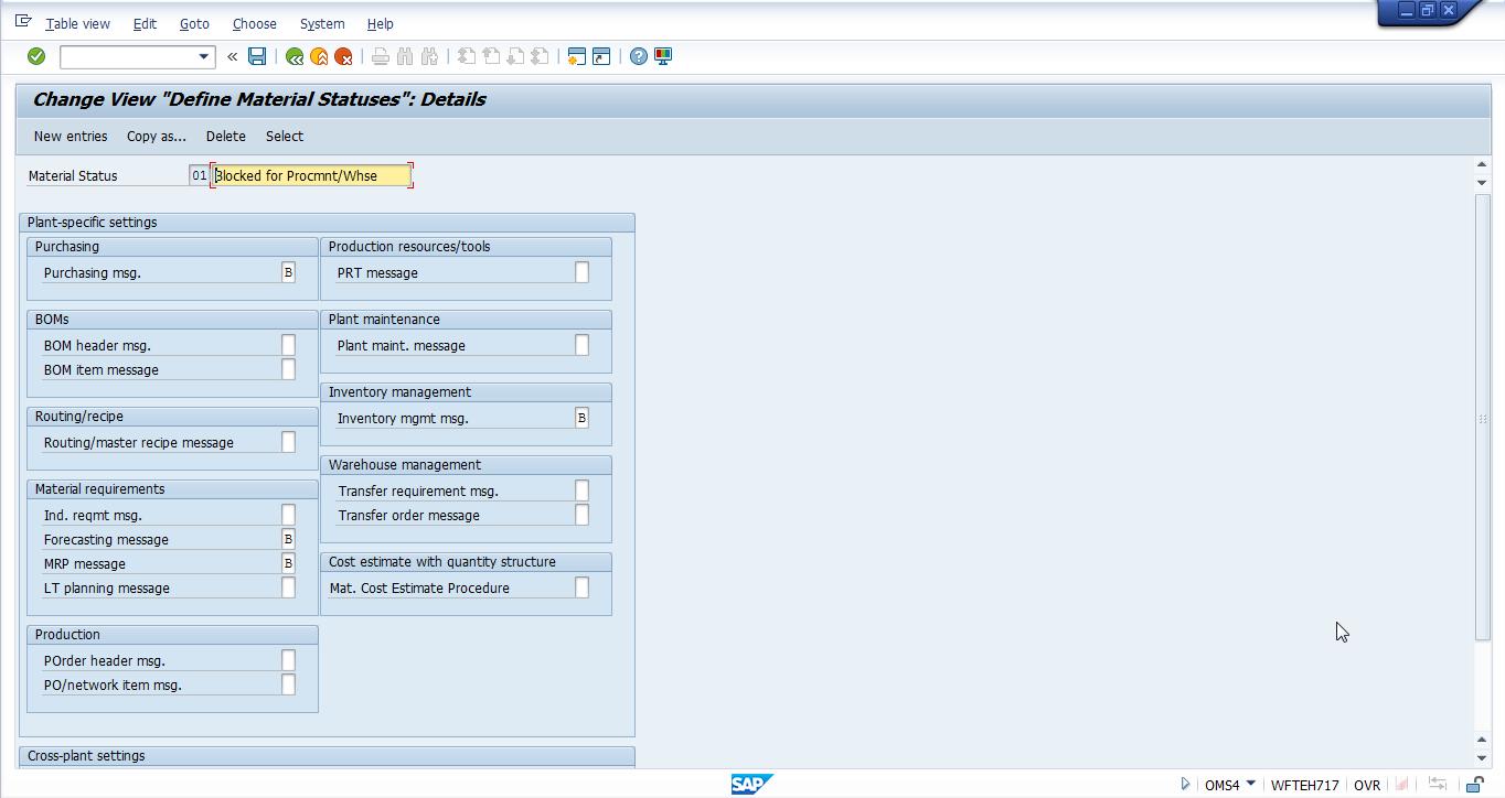 SAP Material Status 01