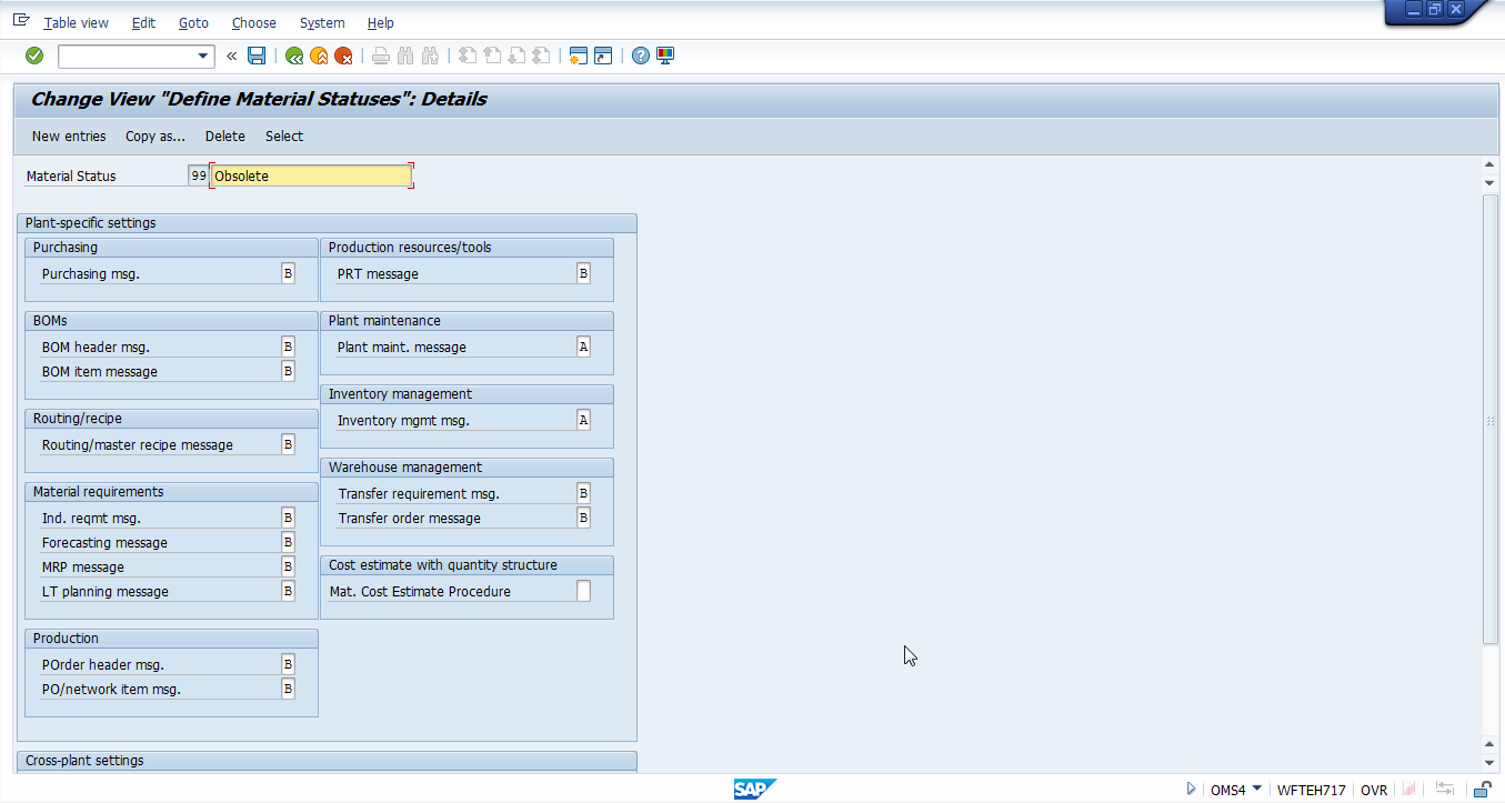 SAP Material Status 99 – Obsolete