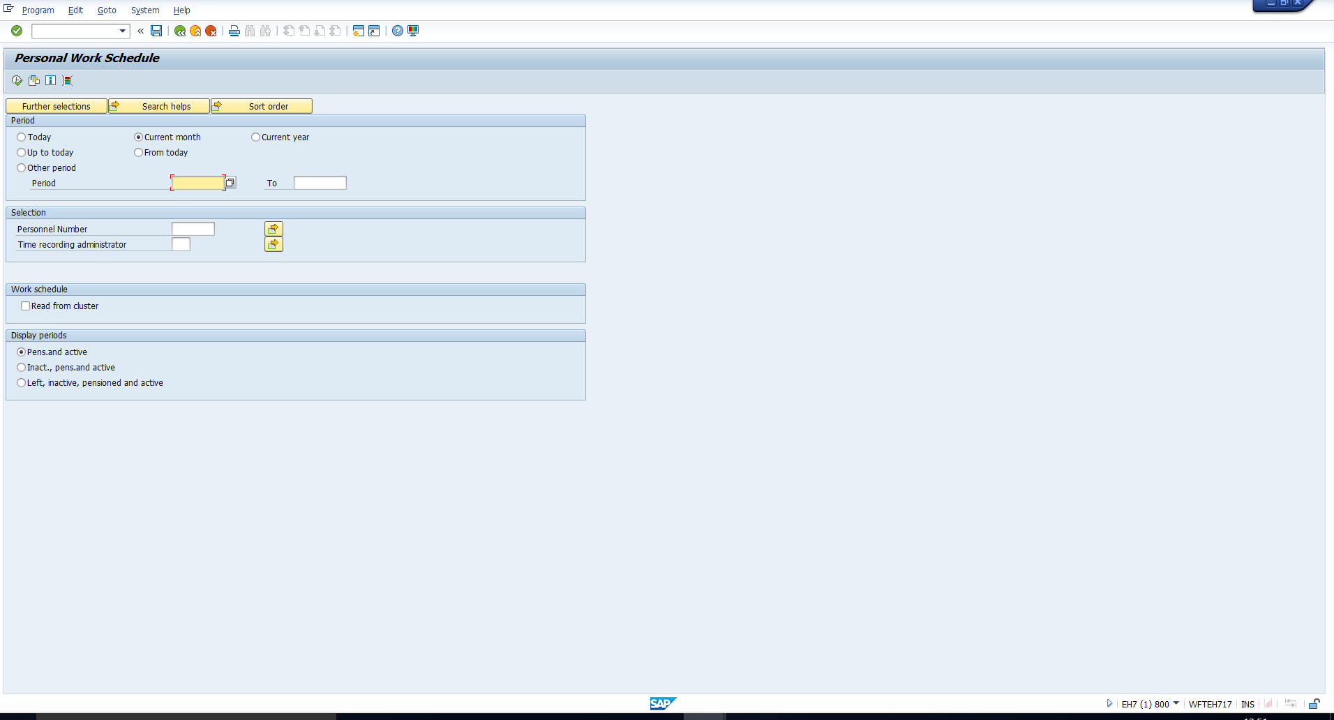 Figure 2: Selection Screen