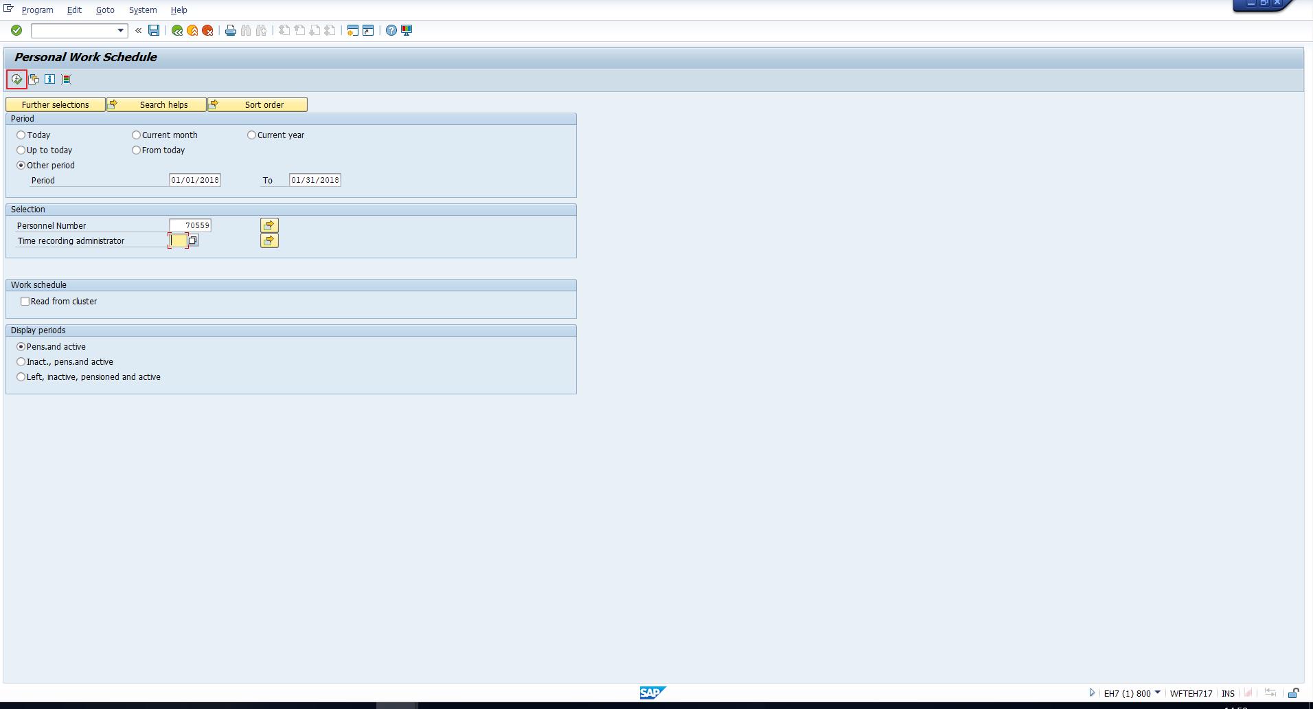 Figure 3: Selection Screen Values