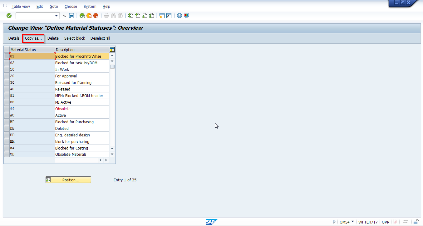 Creation of a New SAP Material Status