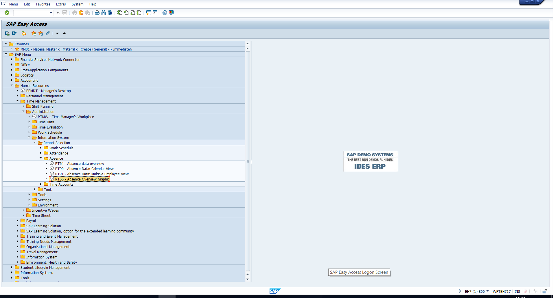 Figure 16: SAP Easy Access Path
