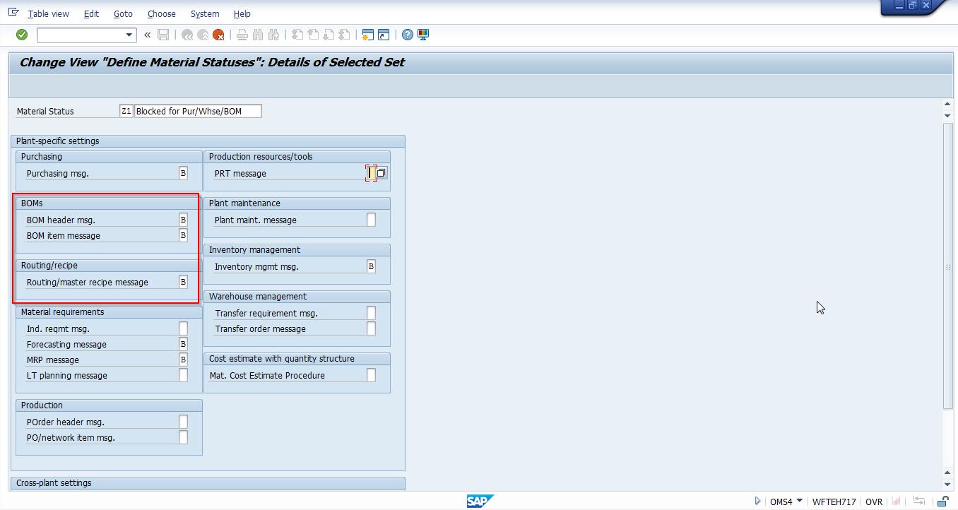 """New SAP Material Status """"Z1"""""""