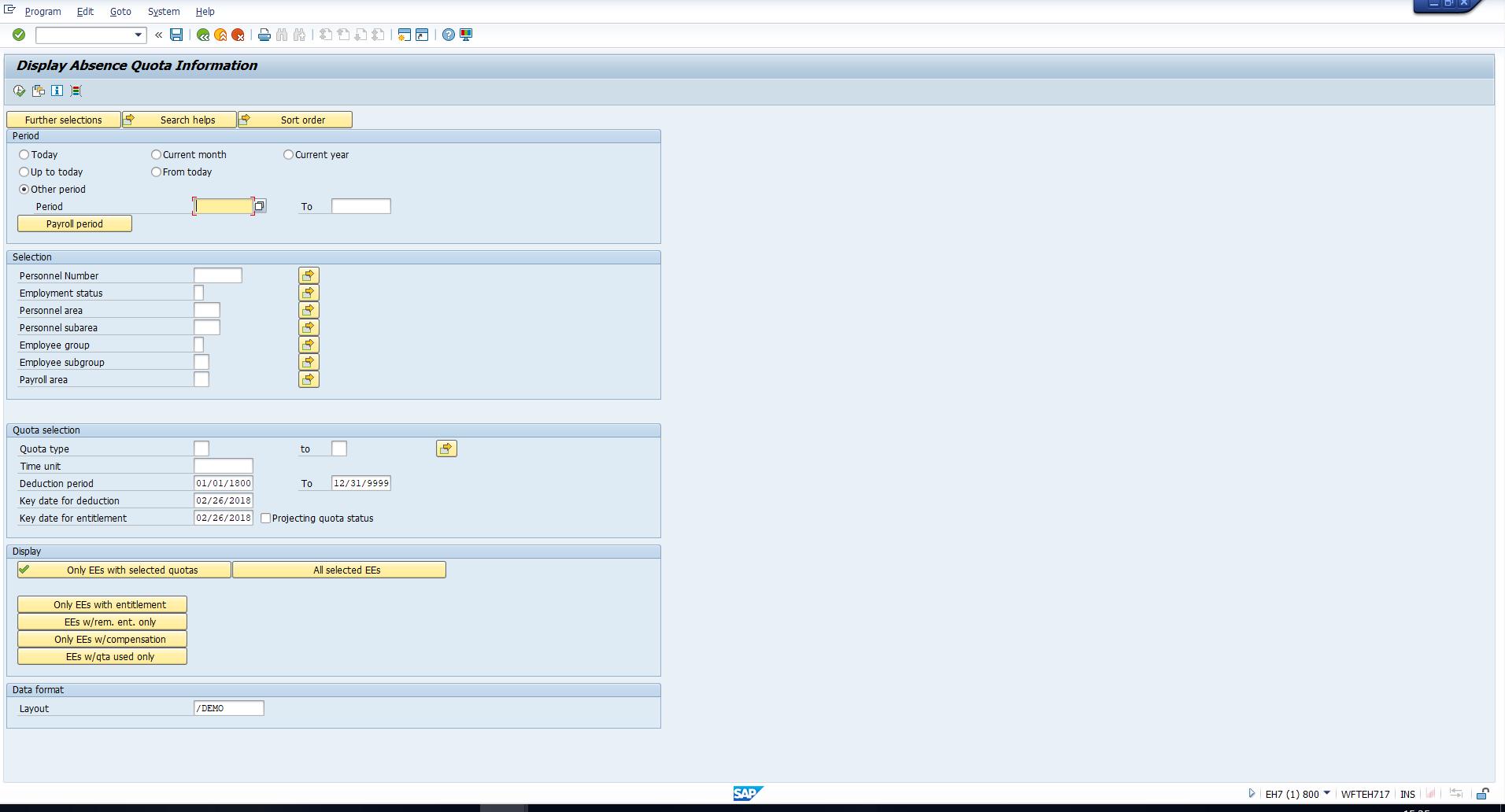 Figure 22: Selection Screen