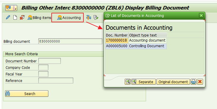 Accounting Documents Related to a Billing Document