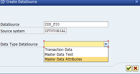 Selecting the Data Type for the DataSource
