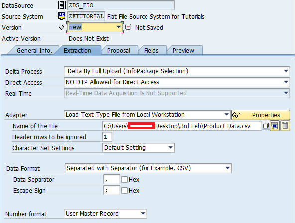 Selecting Adapter, File Path, and Data Format